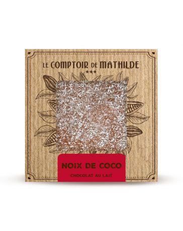 TABLETTE CHOCOLAT AU LAIT - NOIX DE COCO CARAMELISEE - 80G - LE COMPTOIR DE MATHILDE