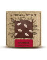 TABLETTE DE CHOCOLAT AU LAIT - AMANDES - 80G - LE COMPTOIR DE MATHILDE