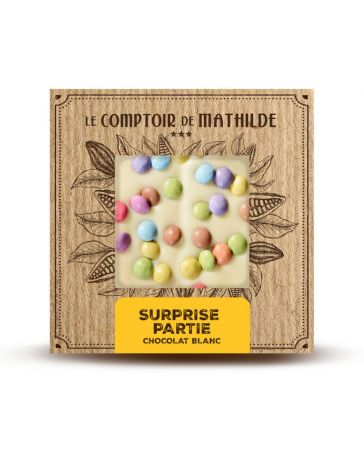 TABLETTE DE CHOCOLAT BLANC - SURPRISE PARTY - 80G - LE COMPTOIR DE MATHILDE