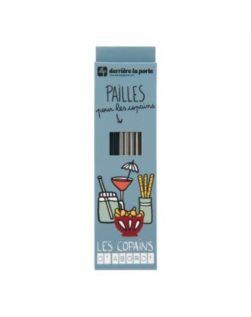 PAILLE (SET DE 10 + GOUPILLON DANS BOITE) METAL - LES COPAINS GRIS - DERRIERE LA PORTE