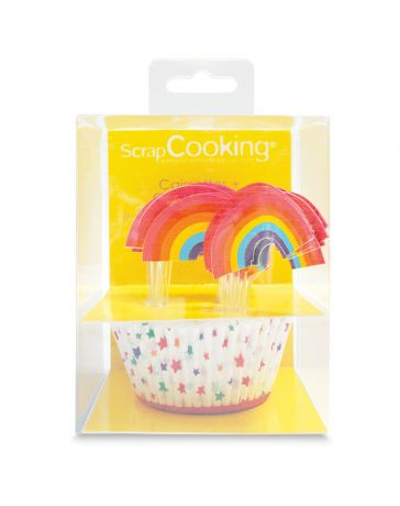 """24 caissettes + 24 toppers """"Rainbow"""" - SCRAPCOOKING"""