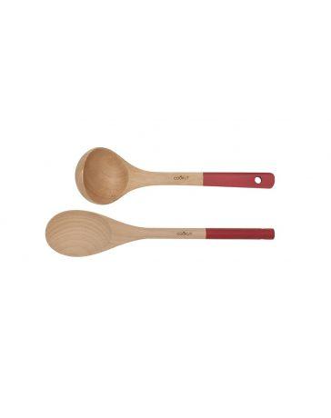 Set Cuillère & Louche en bois - ROUGE - COOKUT