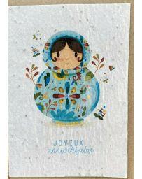 Carte à planter - Anniversaire Matriochka - LES CARTES DE LULU