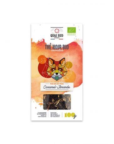 Thé Noir BIO aromatisé au Caramel et aux Amandes - Boîte carton 100g - QUAI SUD