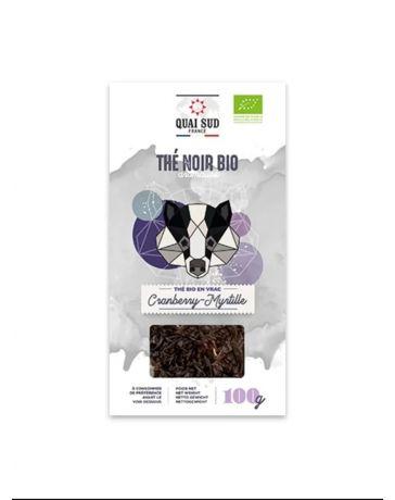 Thé Noir BIO aromatisé aux Cranberry et à la Myrtille - Boîte carton 100g - QUAI SUD