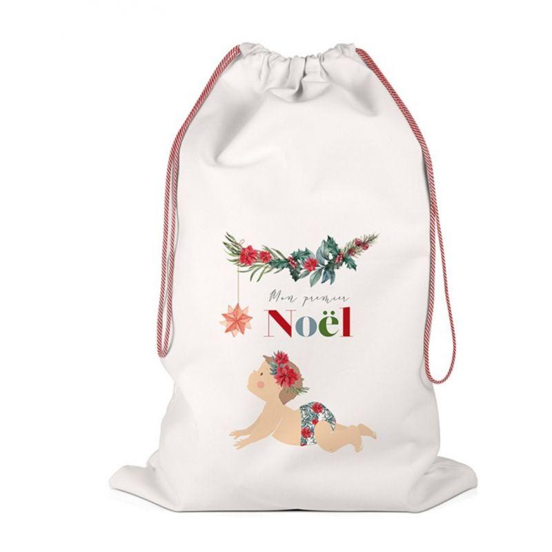 Hotte de Noël - Grand sac de rangement - Mon Premier Noël Fille - LABEL TOUR