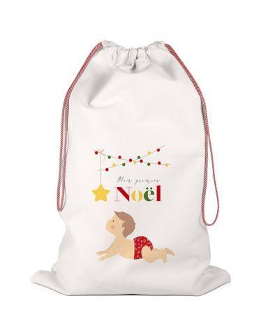 Hotte de Noël - Grand sac de rangement - Mon Premier Noël Garçon - LABEL TOUR