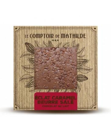TABLETTE CHOCOLAT AU LAIT - ECLATS DE CARAMEL AU BEURRE SALE - LE COMPTOIR DE MATHILDE