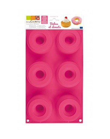Moule silicone - 6 BABAS & DONUTS - SCRAPCOOKING