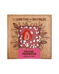 TABLETTE DE CHOCOLAT RUBY - FRAISE MERINGUE - LE COMPTOIR DE MATHILDE
