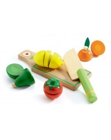 Fruits & Légumes à couper - JEU D'IMITATION EN BOIS - DJECO