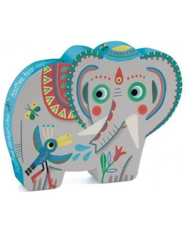 HAATHEE, ELEPHANT D'ASIE - PUZZLE SILHOUETTE - DJECO